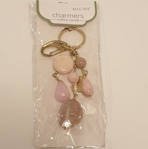 Miche Gold and Pink Stone Cotton Candy Key Chain